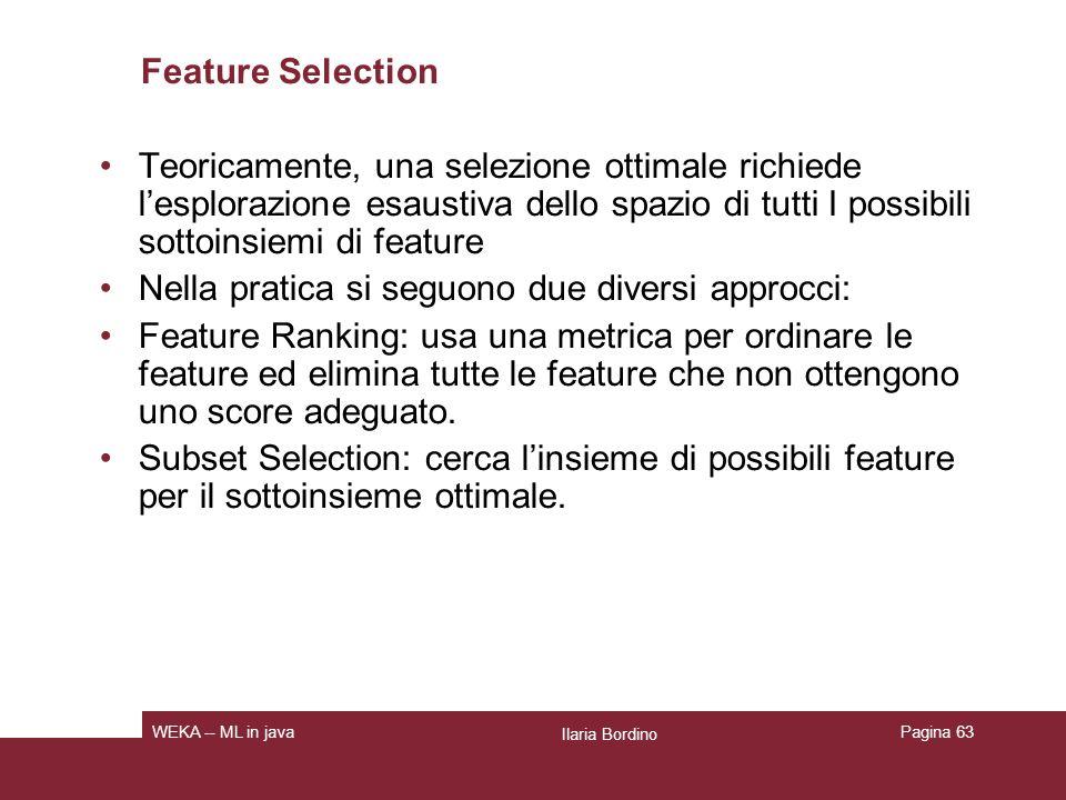 Feature Selection: Subset selection Valuta la bontà di un insieme di features.