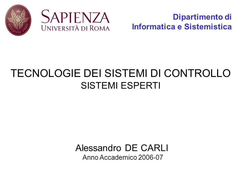 Dipartimento di Informatica e Sistemistica TECNOLOGIE DEI SISTEMI DI CONTROLLO SISTEMI ESPERTI Alessandro DE CARLI Anno Accademico 2006-07