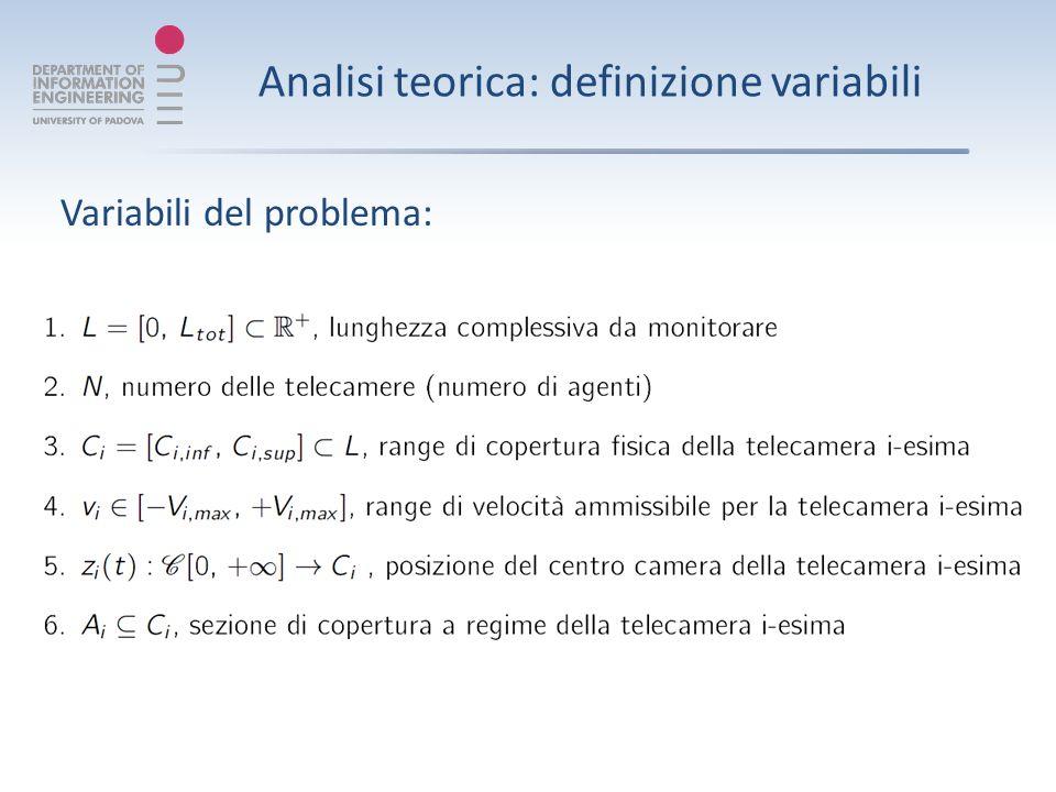 Analisi teorica: definizione variabili Variabili del problema: