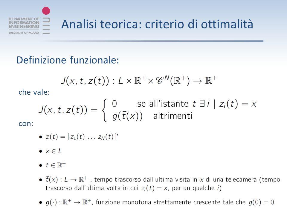 Analisi teorica: criterio di ottimalità che vale: con: Definizione funzionale: