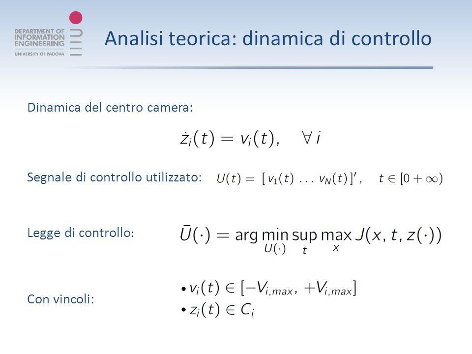 Analisi teorica: dinamica di controllo Segnale di controllo utilizzato: Legge di controllo : Con vincoli: Dinamica del centro camera: