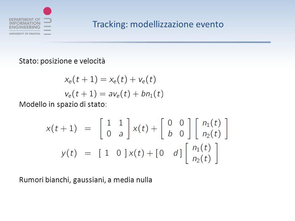 Tracking: modellizzazione evento Stato: posizione e velocità Modello in spazio di stato: Rumori bianchi, gaussiani, a media nulla