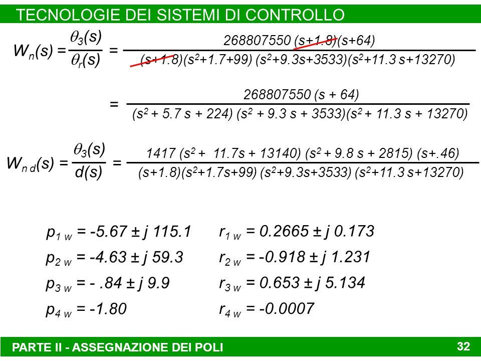 PARTE II - ASSEGNAZIONE DEI POLI TECNOLOGIE DEI SISTEMI DI CONTROLLO 32 W n (s) = 3 (s) r (s) = 268807550 (s+1.8)(s+64) (s+1.8)(s 2 +1.7+99) (s 2 +9.3s+3533)(s 2 +11.3 s+13270) = 268807550 (s + 64) (s 2 + 5.7 s + 224) (s 2 + 9.3 s + 3533)(s 2 + 11.3 s + 13270) W n d (s) = 3 (s) d(s) = 1417 (s 2 + 11.7s + 13140) (s 2 + 9.8 s + 2815) (s+.46) (s+1.8)(s 2 +1.7s+99) (s 2 +9.3s+3533) (s 2 +11.3 s+13270) p 1 w = -5.67 ± j 115.1 p 2 w = -4.63 ± j 59.3 p 3 w = -.84 ± j 9.9 p 4 w = -1.80 r 1 w = 0.2665 ± j 0.173 r 2 w = -0.918 ± j 1.231 r 3 w = 0.653 ± j 5.134 r 4 w = -0.0007