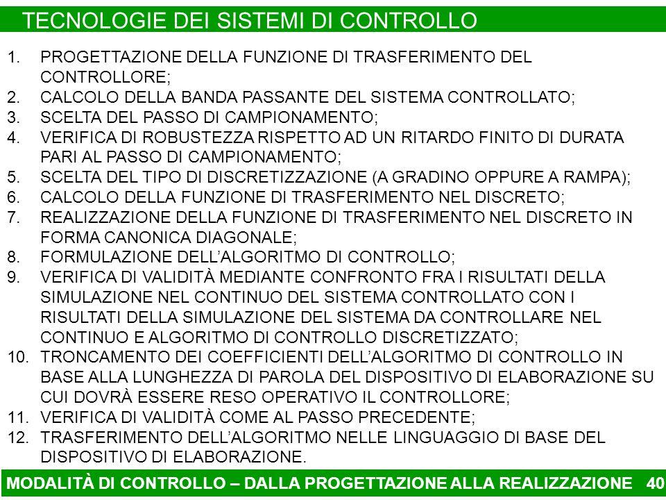 MODALITÀ DI CONTROLLO – DALLA PROGETTAZIONE ALLA REALIZZAZIONE TECNOLOGIE DEI SISTEMI DI CONTROLLO 40 1.PROGETTAZIONE DELLA FUNZIONE DI TRASFERIMENTO DEL CONTROLLORE; 2.CALCOLO DELLA BANDA PASSANTE DEL SISTEMA CONTROLLATO; 3.SCELTA DEL PASSO DI CAMPIONAMENTO; 4.VERIFICA DI ROBUSTEZZA RISPETTO AD UN RITARDO FINITO DI DURATA PARI AL PASSO DI CAMPIONAMENTO; 5.SCELTA DEL TIPO DI DISCRETIZZAZIONE (A GRADINO OPPURE A RAMPA); 6.CALCOLO DELLA FUNZIONE DI TRASFERIMENTO NEL DISCRETO; 7.REALIZZAZIONE DELLA FUNZIONE DI TRASFERIMENTO NEL DISCRETO IN FORMA CANONICA DIAGONALE; 8.FORMULAZIONE DELLALGORITMO DI CONTROLLO; 9.VERIFICA DI VALIDITÀ MEDIANTE CONFRONTO FRA I RISULTATI DELLA SIMULAZIONE NEL CONTINUO DEL SISTEMA CONTROLLATO CON I RISULTATI DELLA SIMULAZIONE DEL SISTEMA DA CONTROLLARE NEL CONTINUO E ALGORITMO DI CONTROLLO DISCRETIZZATO; 10.TRONCAMENTO DEI COEFFICIENTI DELLALGORITMO DI CONTROLLO IN BASE ALLA LUNGHEZZA DI PAROLA DEL DISPOSITIVO DI ELABORAZIONE SU CUI DOVRÀ ESSERE RESO OPERATIVO IL CONTROLLORE; 11.VERIFICA DI VALIDITÀ COME AL PASSO PRECEDENTE; 12.TRASFERIMENTO DELLALGORITMO NELLE LINGUAGGIO DI BASE DEL DISPOSITIVO DI ELABORAZIONE.