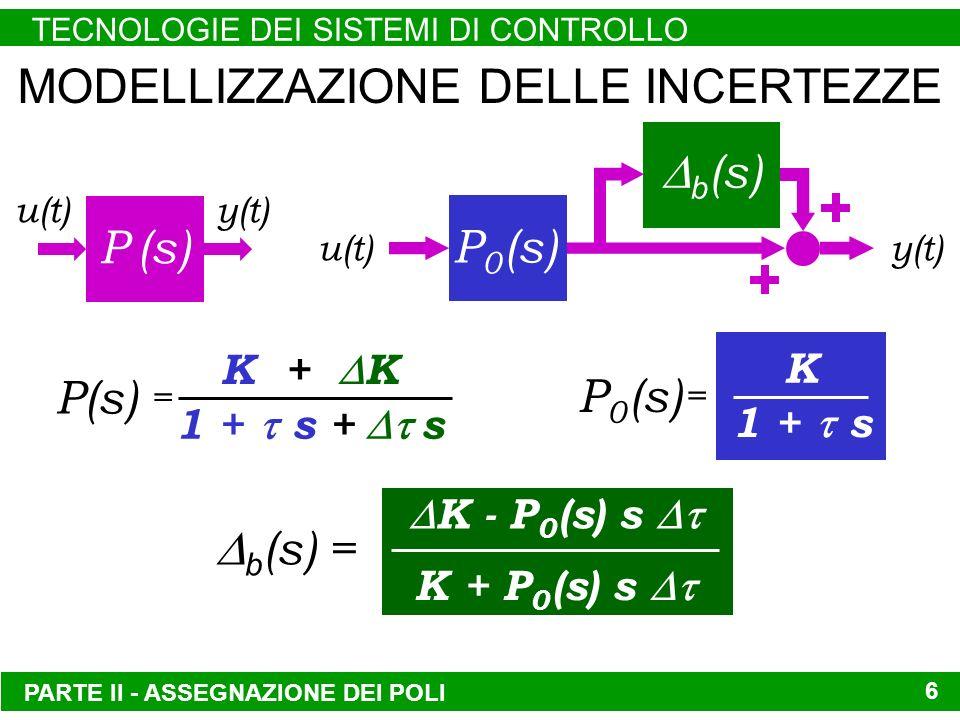 PARTE II - ASSEGNAZIONE DEI POLI TECNOLOGIE DEI SISTEMI DI CONTROLLO 6 MODELLIZZAZIONE DELLE INCERTEZZE P (s) u(t) y(t) P 0 (s) b (s) u(t)y(t) 1 + s + s K + K = P(s) 1 + s K = P 0 (s) b (s) = K - P 0 (s) s K + P 0 (s) s