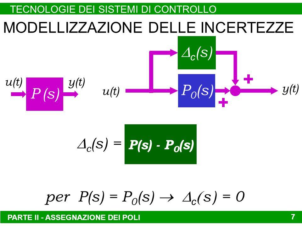 PARTE II - ASSEGNAZIONE DEI POLI TECNOLOGIE DEI SISTEMI DI CONTROLLO 7 MODELLIZZAZIONE DELLE INCERTEZZE P (s) u(t) y(t) per P(s) = P 0 (s) c s ) = 0 c (s) = P(s) - P 0 (s) c (s) P 0 (s) u(t) y(t)