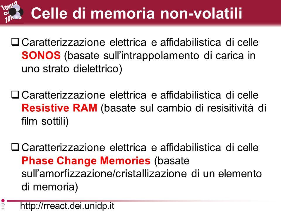 http://rreact.dei.unidp.it Celle di memoria non-volatili Caratterizzazione elettrica e affidabilistica di celle SONOS (basate sullintrappolamento di carica in uno strato dielettrico) Caratterizzazione elettrica e affidabilistica di celle Resistive RAM (basate sul cambio di resisitività di film sottili) Caratterizzazione elettrica e affidabilistica di celle Phase Change Memories (basate sullamorfizzazione/cristallizazione di un elemento di memoria)