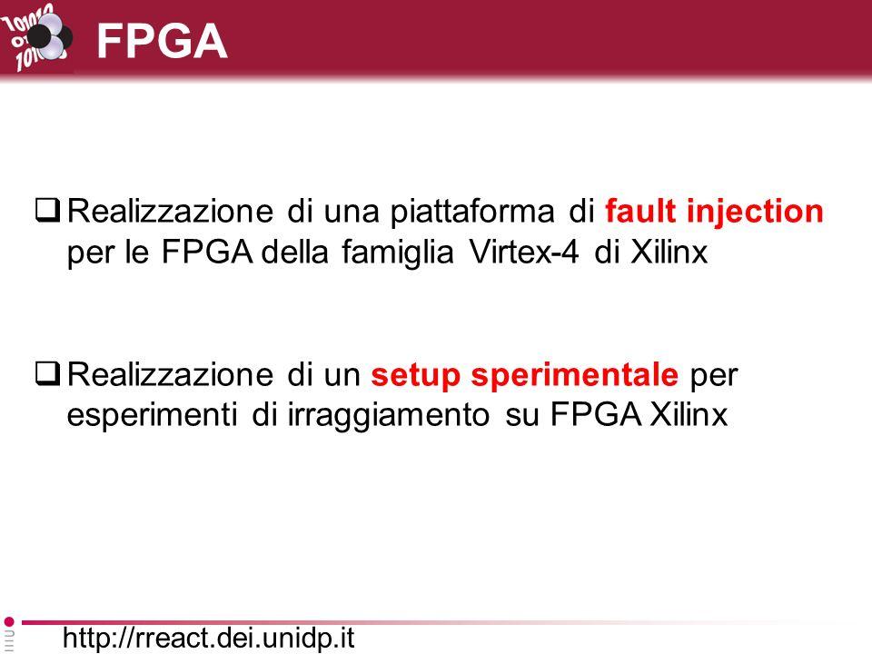 http://rreact.dei.unidp.it FPGA Realizzazione di una piattaforma di fault injection per le FPGA della famiglia Virtex-4 di Xilinx Realizzazione di un setup sperimentale per esperimenti di irraggiamento su FPGA Xilinx