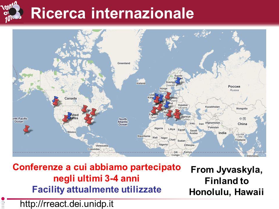 http://rreact.dei.unidp.it Ricerca internazionale Conferenze a cui abbiamo partecipato negli ultimi 3-4 anni Facility attualmente utilizzate From Jyvaskyla, Finland to Honolulu, Hawaii