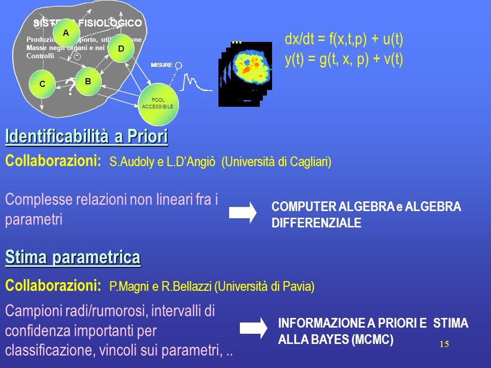 15 Stima parametrica Collaborazioni: P.Magni e R.Bellazzi (Università di Pavia) INFORMAZIONE A PRIORI E STIMA ALLA BAYES (MCMC) Campioni radi/rumorosi