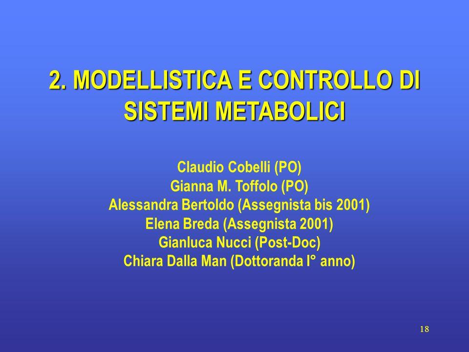 18 2. MODELLISTICA E CONTROLLO DI SISTEMI METABOLICI Claudio Cobelli (PO) Gianna M. Toffolo (PO) Alessandra Bertoldo (Assegnista bis 2001) Elena Breda