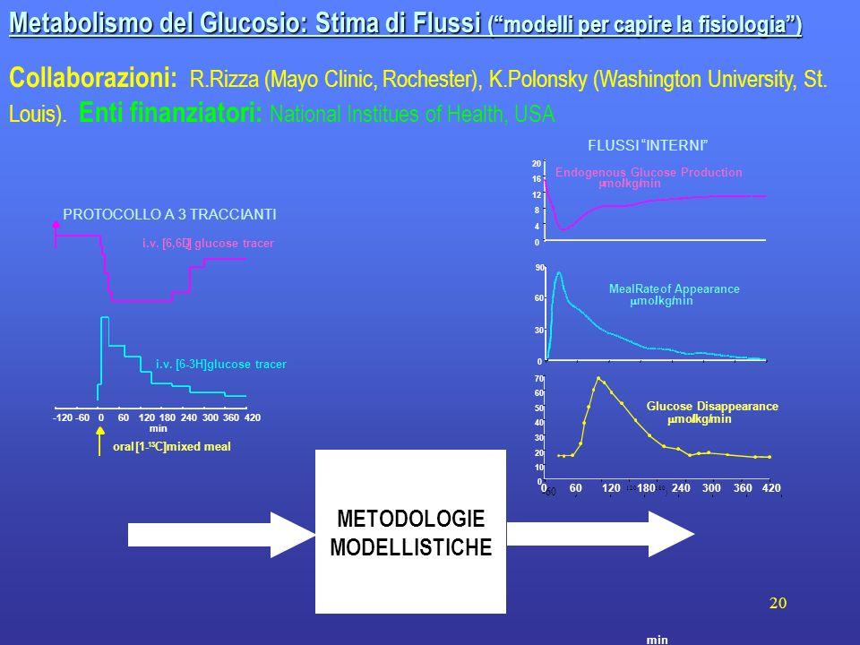20 min Metabolismo del Glucosio: Stima di Flussi (modelli per capire la fisiologia) Collaborazioni: R.Rizza (Mayo Clinic, Rochester), K.Polonsky (Wash