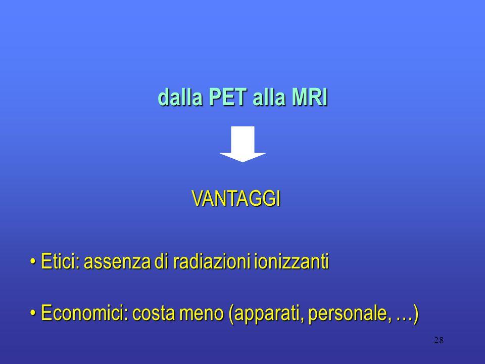 28 dalla PET alla MRI VANTAGGI Etici: assenza di radiazioni ionizzanti Etici: assenza di radiazioni ionizzanti Economici: costa meno (apparati, person