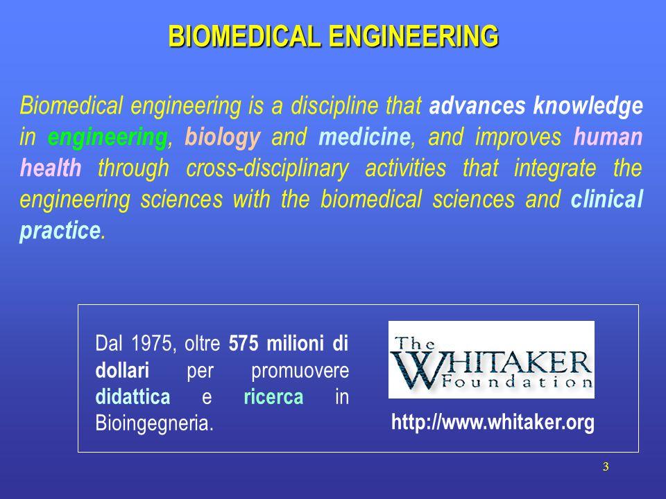 3 BIOMEDICAL ENGINEERING http://www.whitaker.org Dal 1975, oltre 575 milioni di dollari per promuovere didattica e ricerca in Bioingegneria. Biomedica
