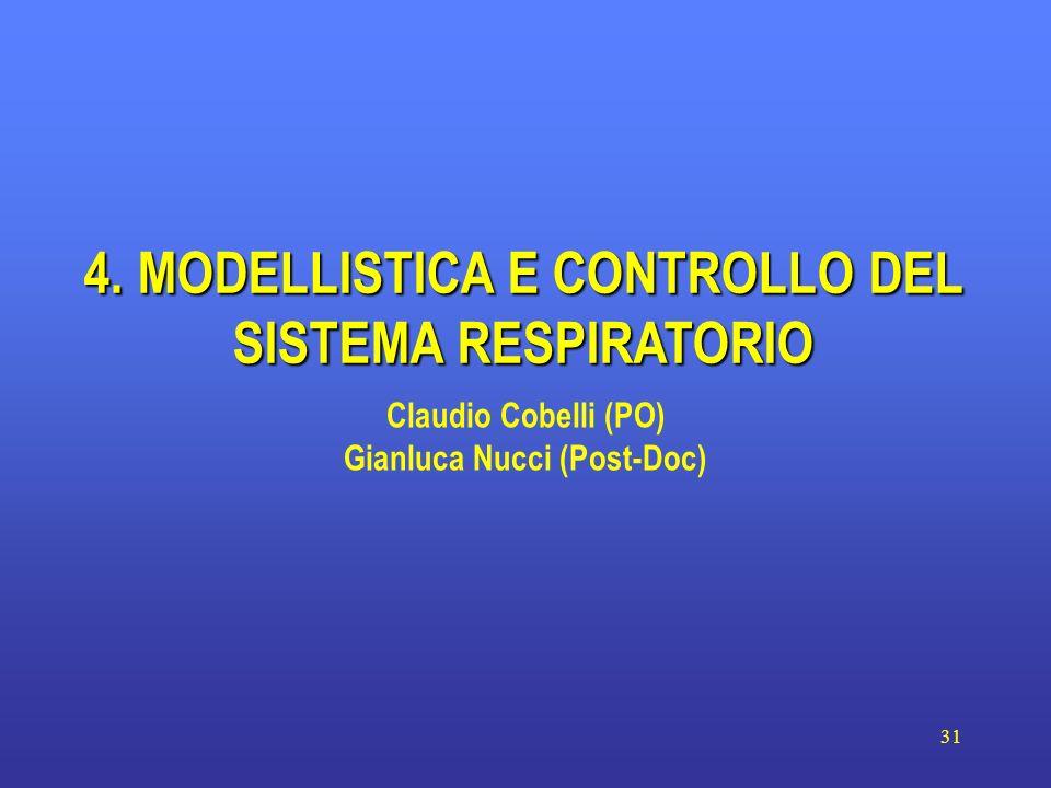31 4. MODELLISTICA E CONTROLLO DEL SISTEMA RESPIRATORIO Claudio Cobelli (PO) Gianluca Nucci (Post-Doc)