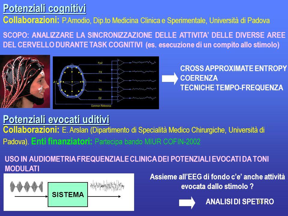 35 Potenziali cognitivi CROSS APPROXIMATE ENTROPY COERENZA TECNICHE TEMPO-FREQUENZA Collaborazioni: P.Amodio, Dip.to Medicina Clinica e Sperimentale,