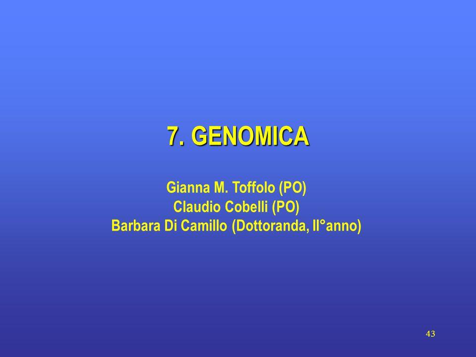 43 7. GENOMICA Gianna M. Toffolo (PO) Claudio Cobelli (PO) Barbara Di Camillo (Dottoranda, II°anno)