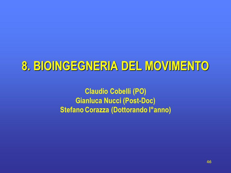 46 8. BIOINGEGNERIA DEL MOVIMENTO Claudio Cobelli (PO) Gianluca Nucci (Post-Doc) Stefano Corazza (Dottorando I°anno)