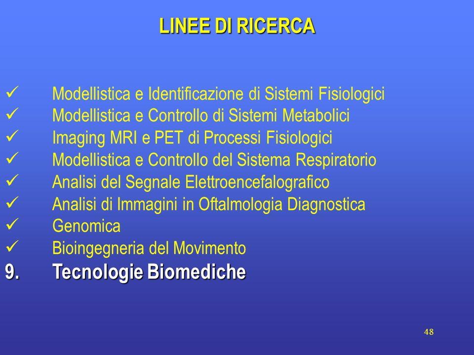 48 LINEE DI RICERCA Modellistica e Identificazione di Sistemi Fisiologici Modellistica e Controllo di Sistemi Metabolici Imaging MRI e PET di Processi