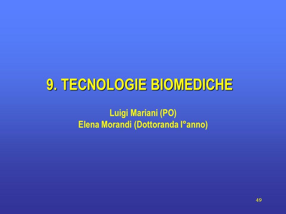 49 9. TECNOLOGIE BIOMEDICHE Luigi Mariani (PO) Elena Morandi (Dottoranda I°anno)