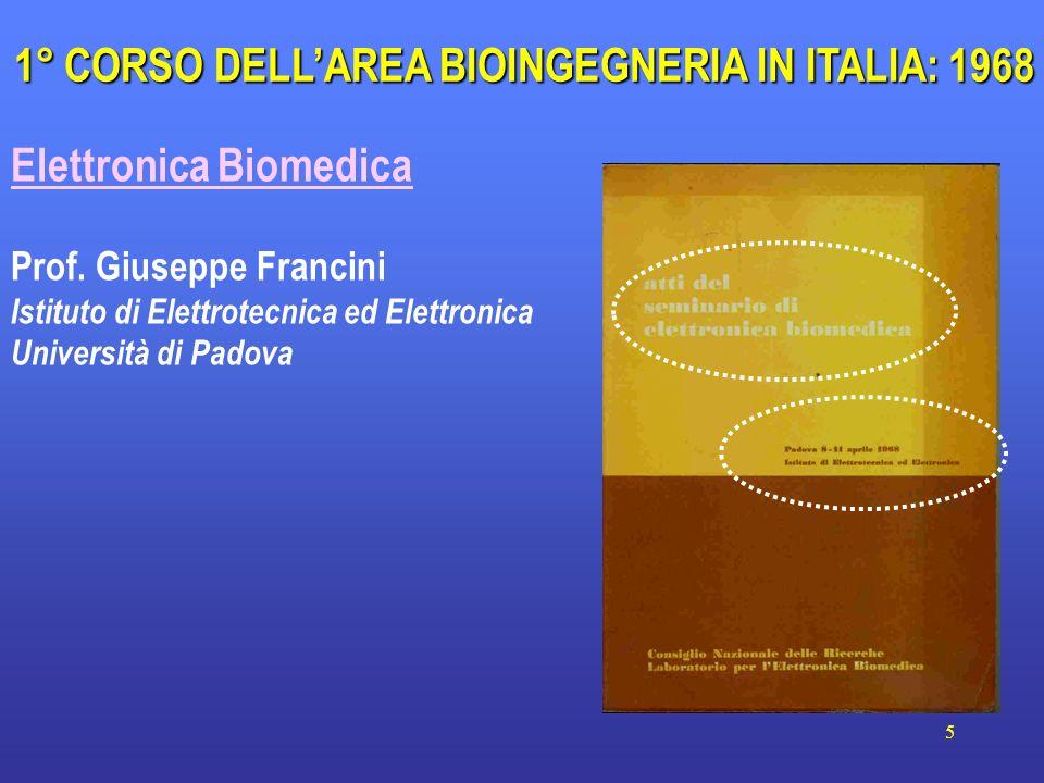 5 Elettronica Biomedica Prof. Giuseppe Francini Istituto di Elettrotecnica ed Elettronica Università di Padova 1° CORSO DELLAREA BIOINGEGNERIA IN ITAL