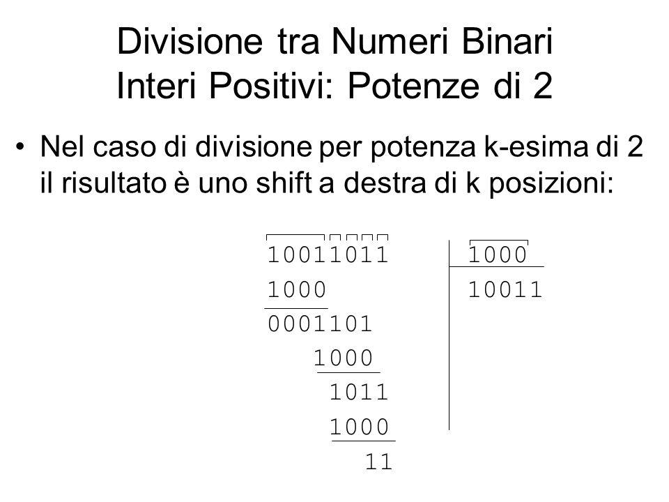 Divisione tra Numeri Binari Interi Positivi: Potenze di 2 Nel caso di divisione per potenza k-esima di 2 il risultato è uno shift a destra di k posizi