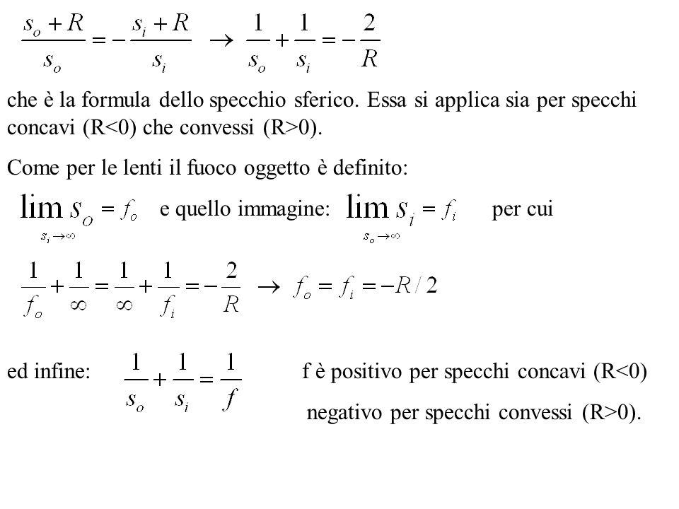 che è la formula dello specchio sferico. Essa si applica sia per specchi concavi (R 0). Come per le lenti il fuoco oggetto è definito: e quello immagi