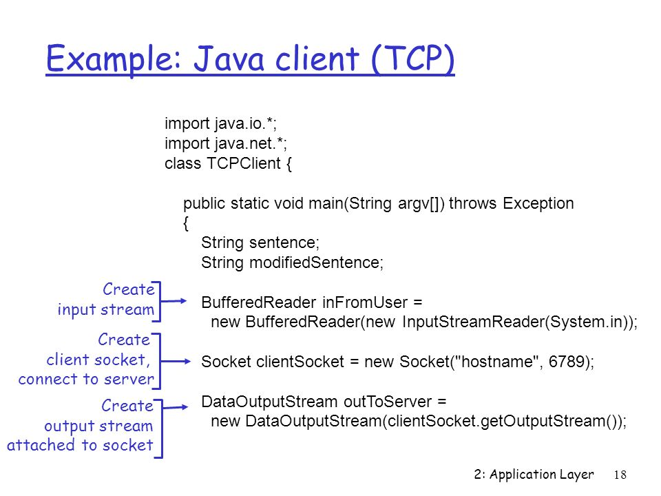 2: Application Layer18 Example: Java client (TCP) import java.io.*; import java.net.*; class TCPClient { public static void main(String argv[]) throws Exception { String sentence; String modifiedSentence; BufferedReader inFromUser = new BufferedReader(new InputStreamReader(System.in)); Socket clientSocket = new Socket( hostname , 6789); DataOutputStream outToServer = new DataOutputStream(clientSocket.getOutputStream()); Create input stream Create client socket, connect to server Create output stream attached to socket