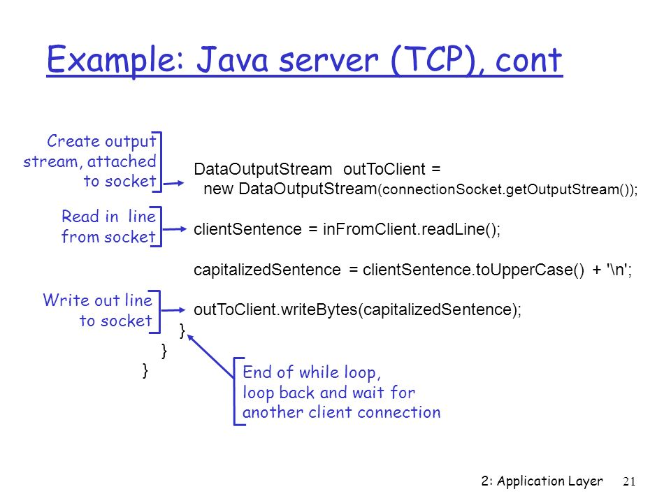 2: Application Layer21 Example: Java server (TCP), cont DataOutputStream outToClient = new DataOutputStream (connectionSocket.getOutputStream()); clientSentence = inFromClient.readLine(); capitalizedSentence = clientSentence.toUpperCase() + \n ; outToClient.writeBytes(capitalizedSentence); } Read in line from socket Create output stream, attached to socket Write out line to socket End of while loop, loop back and wait for another client connection