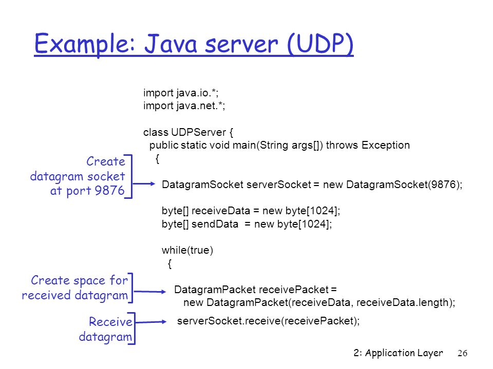 2: Application Layer26 Example: Java server (UDP) import java.io.*; import java.net.*; class UDPServer { public static void main(String args[]) throws