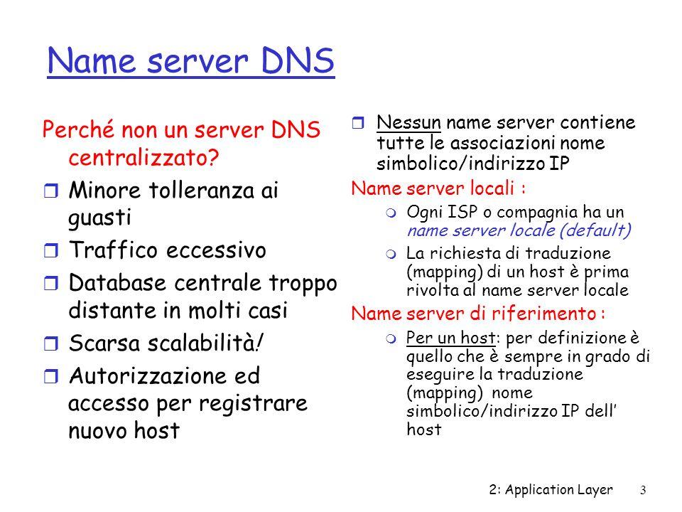 2: Application Layer4 DNS: Root name servers r Contattato dal name server locale che non riesce a risolvere un nome r root name server: m Contatta il name server di riferimento (authoritative) se la traduzione non è nota m Ottiene la traduzione m Restituisce la traduzione al name server locale r ~ una dozzina di root name server nel mondo