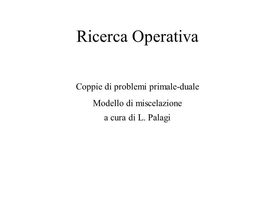 Ricerca Operativa Coppie di problemi primale-duale Modello di miscelazione a cura di L. Palagi