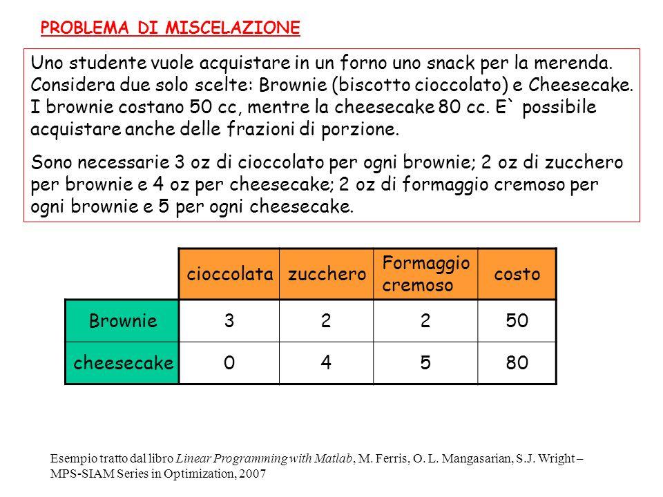 Uno studente vuole acquistare in un forno uno snack per la merenda. Considera due solo scelte: Brownie (biscotto cioccolato) e Cheesecake. I brownie c