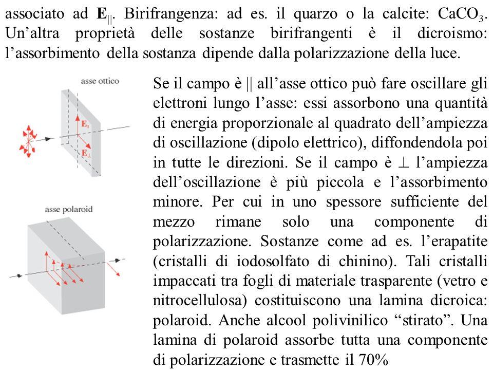 associato ad E. Birifrangenza: ad es. il quarzo o la calcite: CaCO 3. Unaltra proprietà delle sostanze birifrangenti è il dicroismo: lassorbimento del