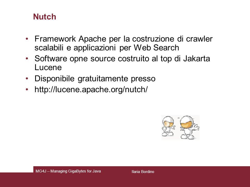 Jakarta Lucene Java API per lo sviluppo di motori di ricerca testuali Non applicazione ma API che consente la realizzazione di search applications customizzate in base alle specifiche esigenze degli sviluppatori.