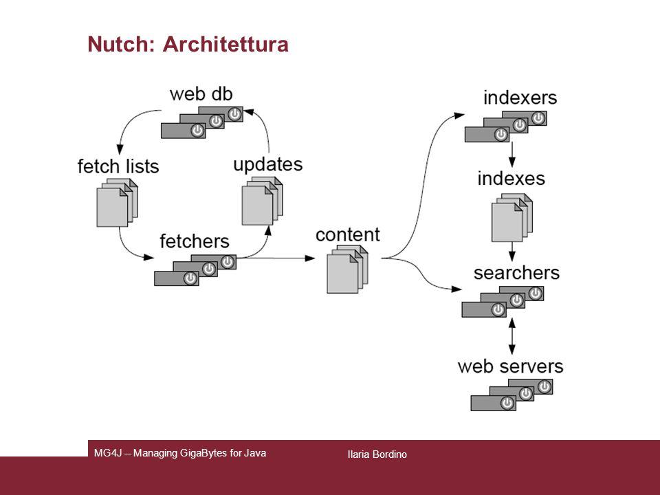 Pagina 9 Nutch: motore di ricerca configurabile dall utente Permette la raccolta delle pagine, lindicizzazione e linterrogazione delle pagine web.