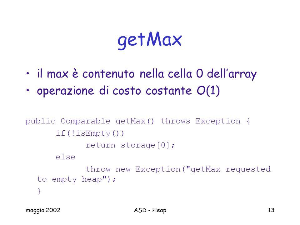 maggio 2002ASD - Heap13 getMax il max è contenuto nella cella 0 dellarray operazione di costo costante O(1) public Comparable getMax() throws Exceptio