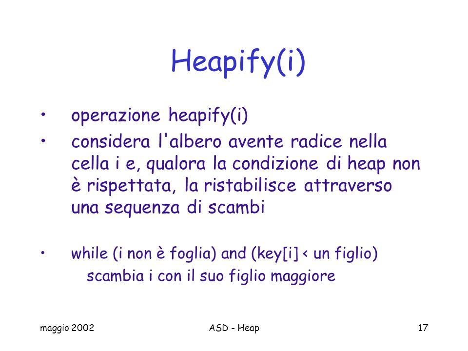 maggio 2002ASD - Heap17 Heapify(i) operazione heapify(i) considera l'albero avente radice nella cella i e, qualora la condizione di heap non è rispett