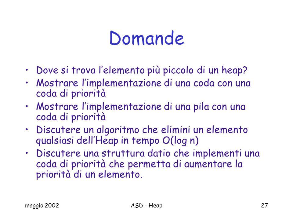 maggio 2002ASD - Heap27 Domande Dove si trova lelemento più piccolo di un heap? Mostrare limplementazione di una coda con una coda di priorità Mostrar