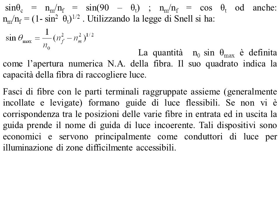 sinθ c = n m /n f = sin(90 – θ t ) ; n m /n f = cos θ t od anche: n m /n f = (1- sin 2 θ t ) 1/2.