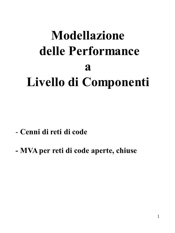 1 Modellazione delle Performance a Livello di Componenti - Cenni di reti di code - MVA per reti di code aperte, chiuse