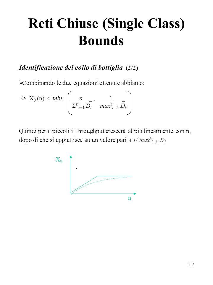 17 Reti Chiuse (Single Class) Bounds Identificazione del collo di bottiglia (2/2) Combinando le due equazioni ottenute abbiamo: -> X 0 (n) min n _, 1 _ K r=1 D i max k i=1 D i Quindi per n piccoli il throughput crescerà al più linearmente con n, dopo di che si appiattisce su un valore pari a 1/ max k i=1 D i.
