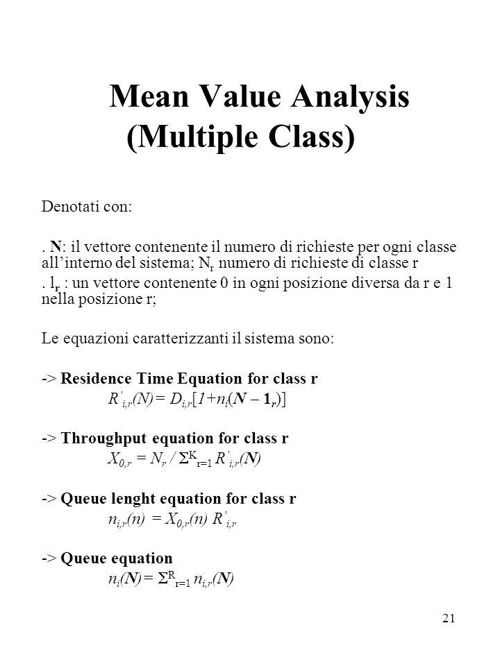 21 Mean Value Analysis (Multiple Class) Denotati con:. N: il vettore contenente il numero di richieste per ogni classe allinterno del sistema; N r num