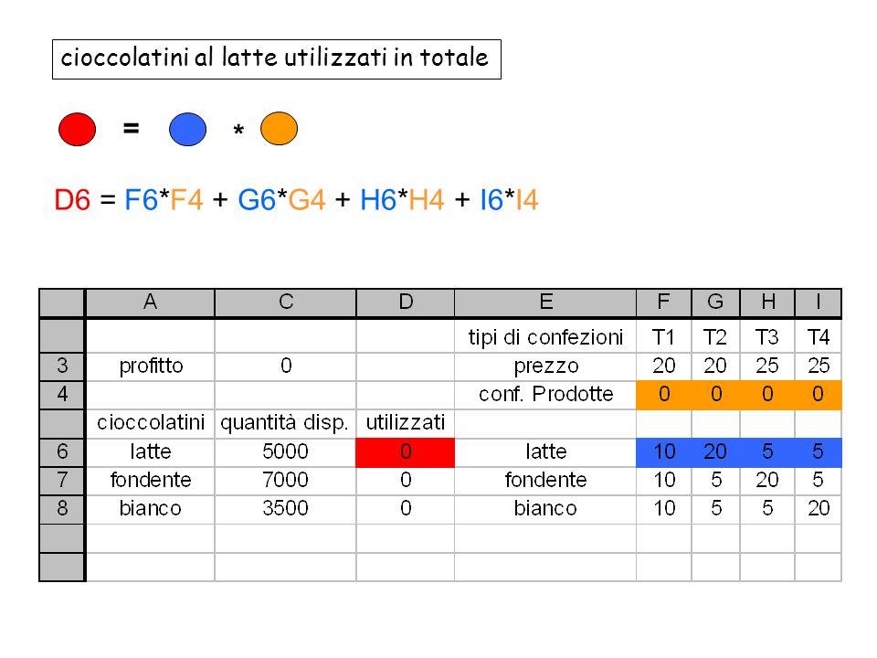 cioccolatini al latte utilizzati in totale = * D6 = F6*F4 + G6*G4 + H6*H4 + I6*I4