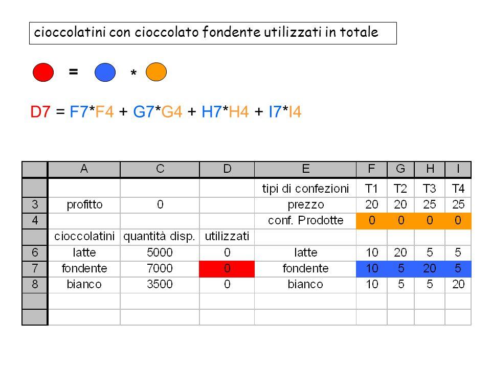 cioccolatini con cioccolato fondente utilizzati in totale = * D7 = F7*F4 + G7*G4 + H7*H4 + I7*I4