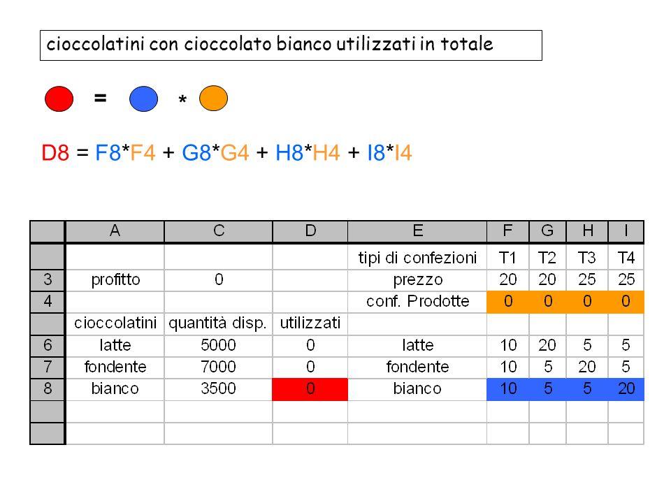 cioccolatini con cioccolato bianco utilizzati in totale = * D8 = F8*F4 + G8*G4 + H8*H4 + I8*I4