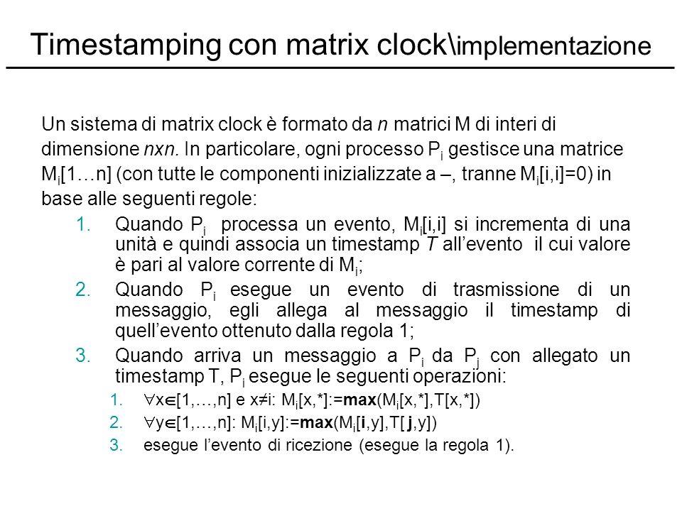 Timestamping con matrix clock\ implementazione Un sistema di matrix clock è formato da n matrici M di interi di dimensione nxn. In particolare, ogni p