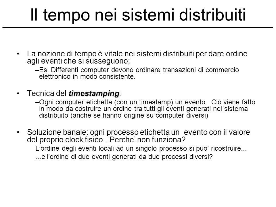 Il tempo nei sistemi distribuiti La nozione di tempo è vitale nei sistemi distribuiti per dare ordine agli eventi che si susseguono; –Es. Differenti c