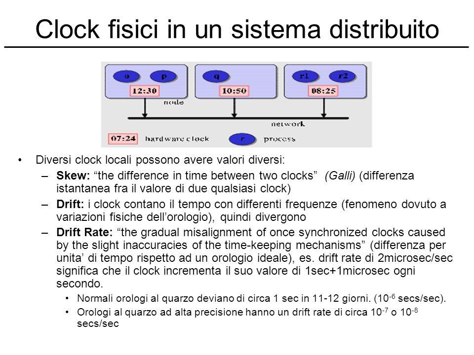Clock fisici in un sistema distribuito Diversi clock locali possono avere valori diversi: –Skew: the difference in time between two clocks (Galli) (di