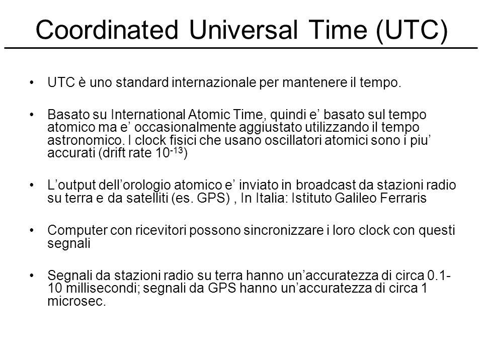 Coordinated Universal Time (UTC) UTC è uno standard internazionale per mantenere il tempo. Basato su International Atomic Time, quindi e basato sul te